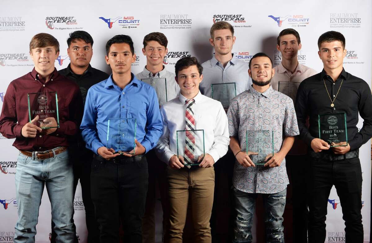 From left, the 2018 Super Gold boys soccer team. 1 Lumberton's Aaron Turner 2 Central's Vidal Valle 3 Memorial's Ivan Barragas 4 Lumberton's Corey Bierbaum 5 Silsbee's Eric Martin 6 Port Neches-Groves' Preston Riggs 7 Jasper's Rafael Mijares 8 Little Cypress-Mauriceville's Seth Brown 9 Bob Hope School's Juan Hernandez Photo taken Guiseppe Barranco/The Enterprise