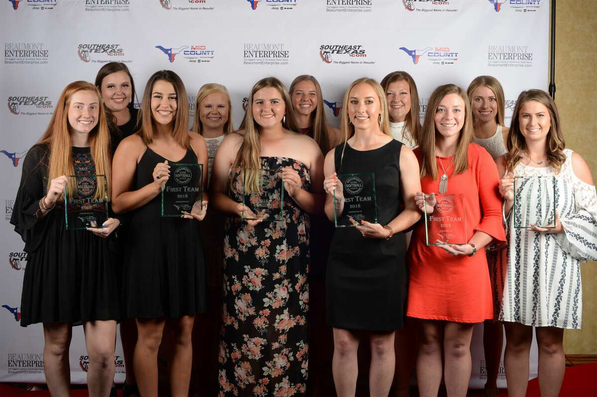 From left, the 2018 Super Gold girls softball team. 1 Evadale's Savannah Wilson 2 Buna's Marcie Moss 3 Jasper's Britney Scott 4 Orangefield's Kaylee Ancelot 5 Buna's Haylee Ladner 6 Bridge City's Kassidy Wilbur 7 Nederland's Hannah Goode 8 Port Neches-Groves' Britni Hunt 9 Kelly's McKenna Cross 10 Little Cypress-Mauriceville's Renna Toomey 11 Buna's Makenzie Brumfield Photo taken Guiseppe Barranco/The Enterprise