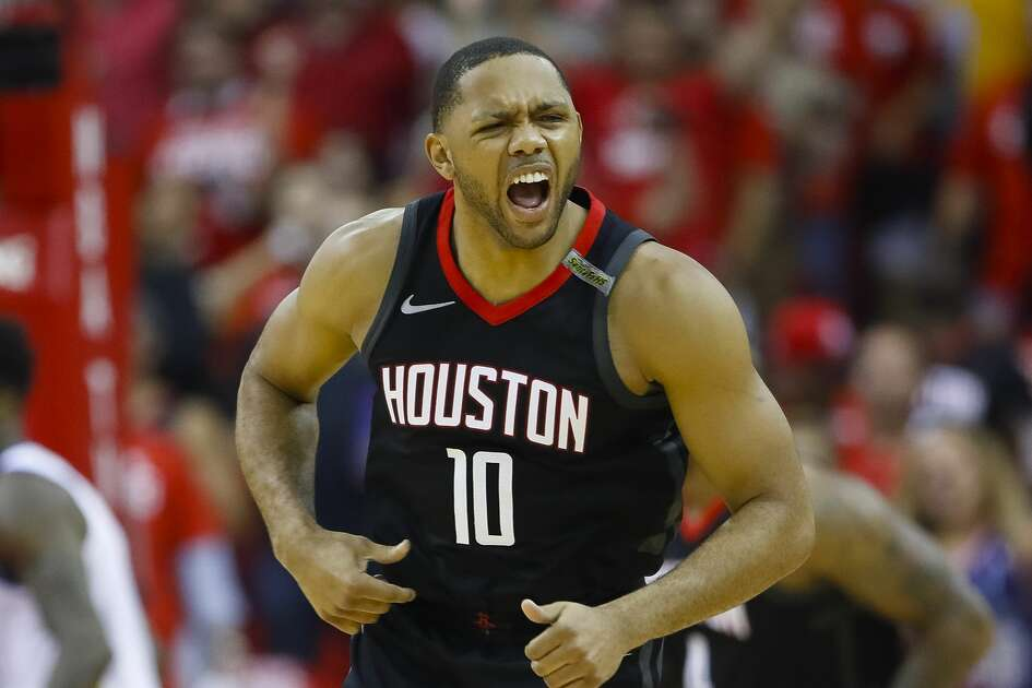 Houston Rockets guard Eric Gordon (10) reacts during the second half of Game 5 of the NBA Western Conference Finals at Toyota Center on Thursday, May 24, 2018, in Houston. ( Brett Coomer / Houston Chronicle )