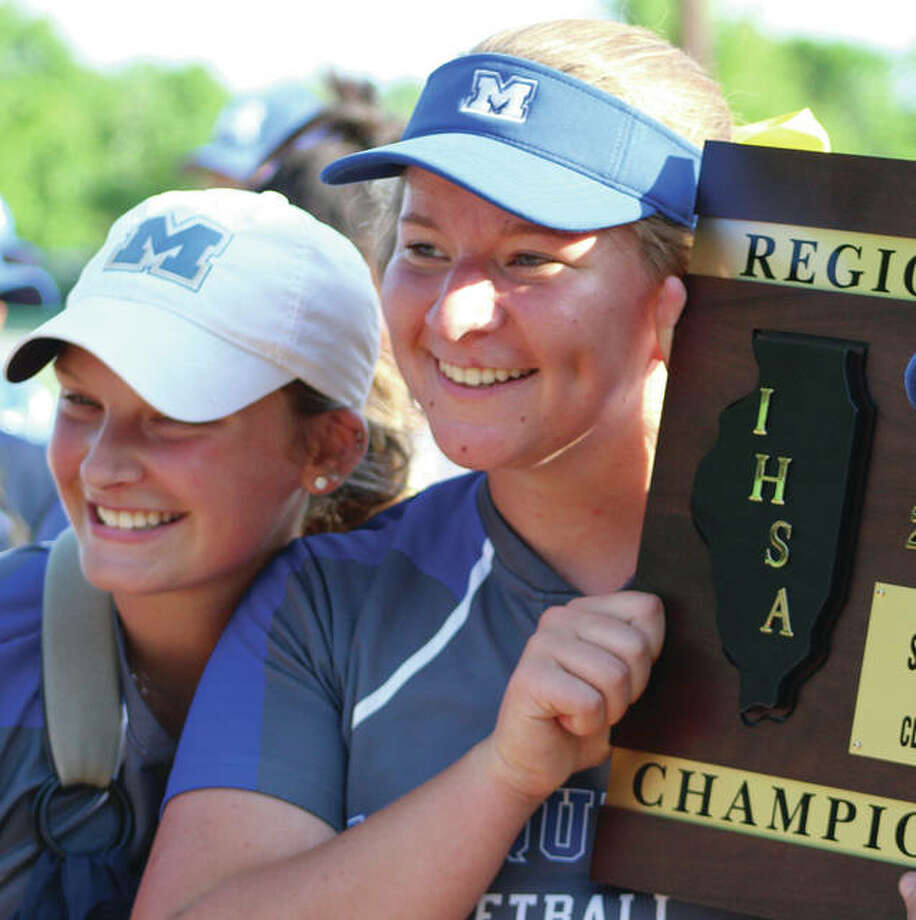 Marquette Catholic seniors Tess Eberlin (right) and injured catcher Grace Frost celebrate with a regional championship plaque after the Explorers' 3-2 softball victory over Southwestern in the Marquette Class 2A Regional on Tuesday at Moore Park in Alton. Now, Marquette joins Calhoun softball and Staunton baseball with sectional plaques on the line in championship games Saturday. The 36-1 Explorers play 31-5 Williamsville at 11 a.m. at the Gillespie Class 2A Sectional, while 30-6 Calhoun plays 21-9 Camp Point Central at 11 a.m. at the Camp Point Class 1A Sectional. In baseball, 24-4 Staunton meets 27-6 Teutopolis at 10 a.m. at the Flora Sectional. The next step on the path to state is super-sectionals on Monday. Photo:       Greg Shashack / The Telegraph