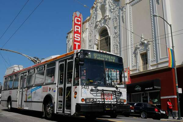 The 24 Divisadero MUNI line drives by the Castro Theater in San Francisco, Calif. on Friday, March 9, 2012.