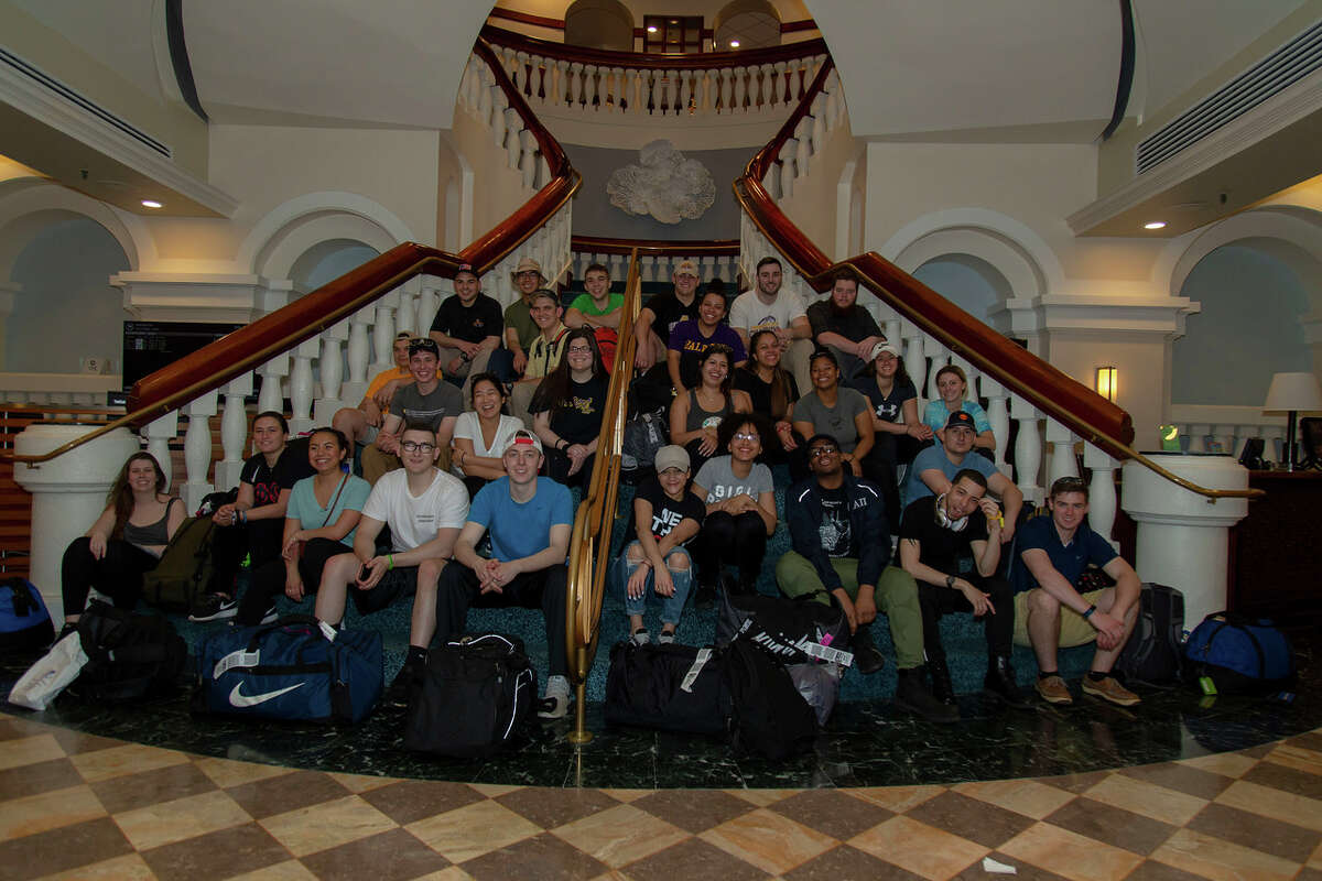 UAlbany CEHC students traveled to Puerto Rico to help with hurricane recovery efforts. Day one was comprised of travel, orientation, and settling into their new temporary home aboard the USS Empire State (Photo by Brian Busher)