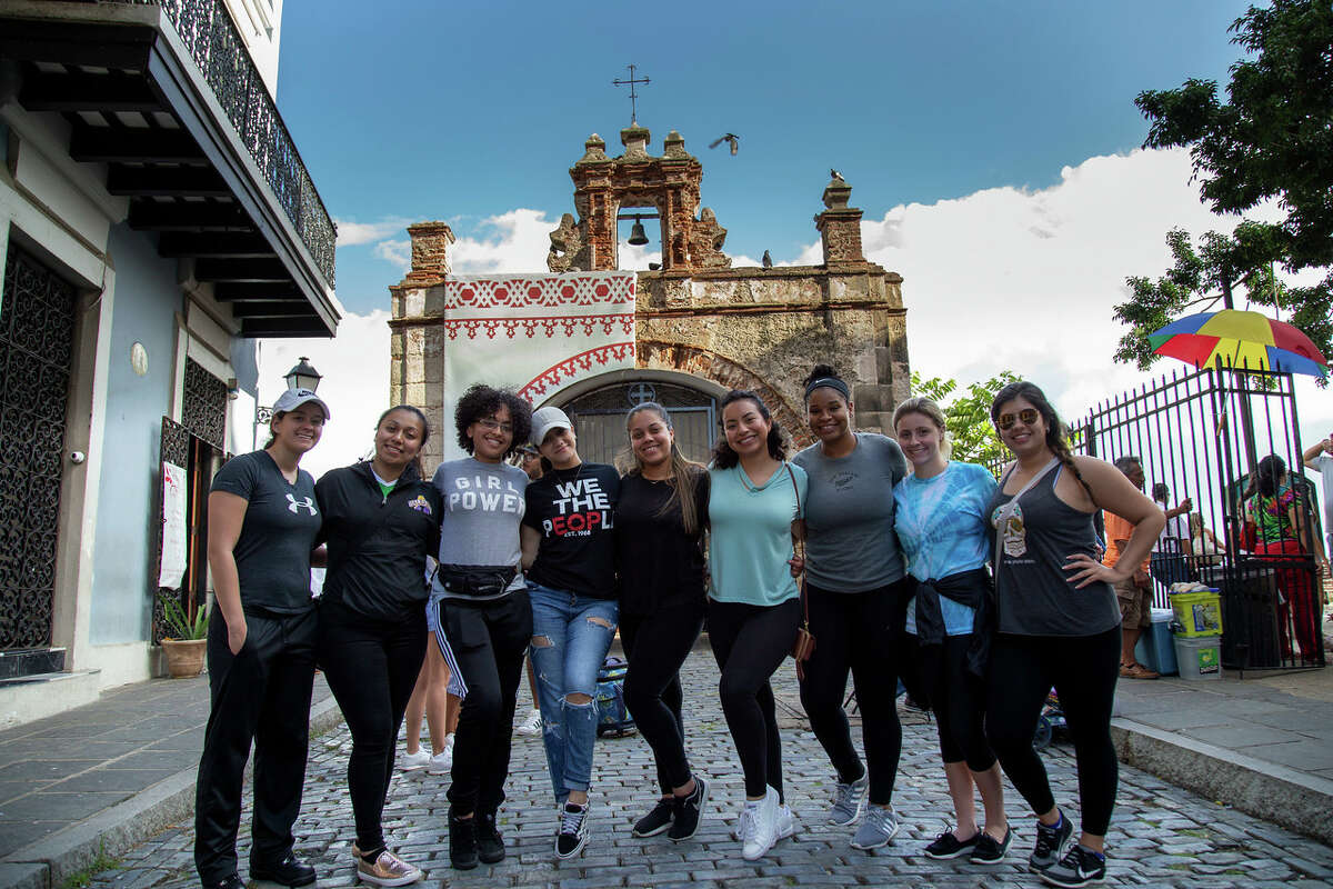 UAlbany College of Emergency Preparedness Homeland Security and Cybersecuritystudents traveled to Puerto Rico in May 2018 to help with hurricane recovery efforts. Day one comprised travel, orientation, and settling into their new temporary home aboard the USS Empire State (Photo by Brian Busher)