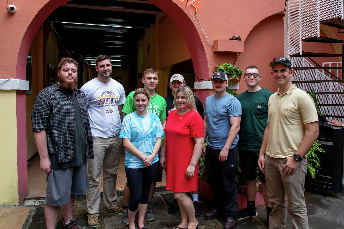 UAlbany College of Emergency Preparedness Homeland Security and Cybersecuritystudents traveled to Puerto Rico to help with hurricane recovery efforts. Day one comprised travel, orientation, and settling into their new temporary home aboard the USS Empire State (Photo by Brian Busher)