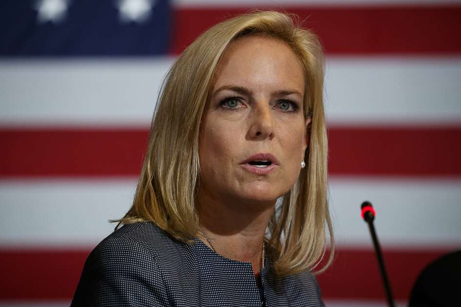 Secretary of Homeland Security Kirstjen Nielsen speaks during a roundtable on immigration policy with President Donald Trump at Morrelly Homeland Security Center, Wednesday, May 23, 2018, in Bethpage, N.Y. (AP Photo/Evan Vucci)