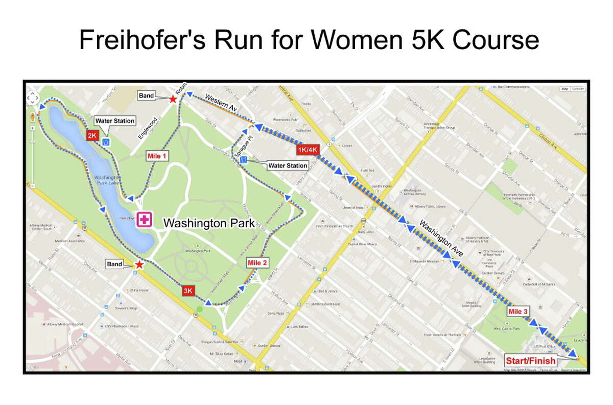 Freihofer's Run for Women 2018 course map.