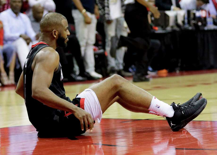 PHOTOS: More from the Rockets' Chris Paul in Game 5 Houston Rockets guard Chris Paul sits on the floor after being hurt during the second half in Game 5 against the Golden State Warriors in the NBA basketball playoffs Western Conference finals in Houston, Thursday, May 24, 2018. (AP Photo/David J. Phillip) Browse through the photos above for more shots of Chris Paul in the Rockets' Game 5 win Thursday night. Photo: David J. Phillip, Associated Press / Copyright 2018 The Associated Press. All rights reserved.