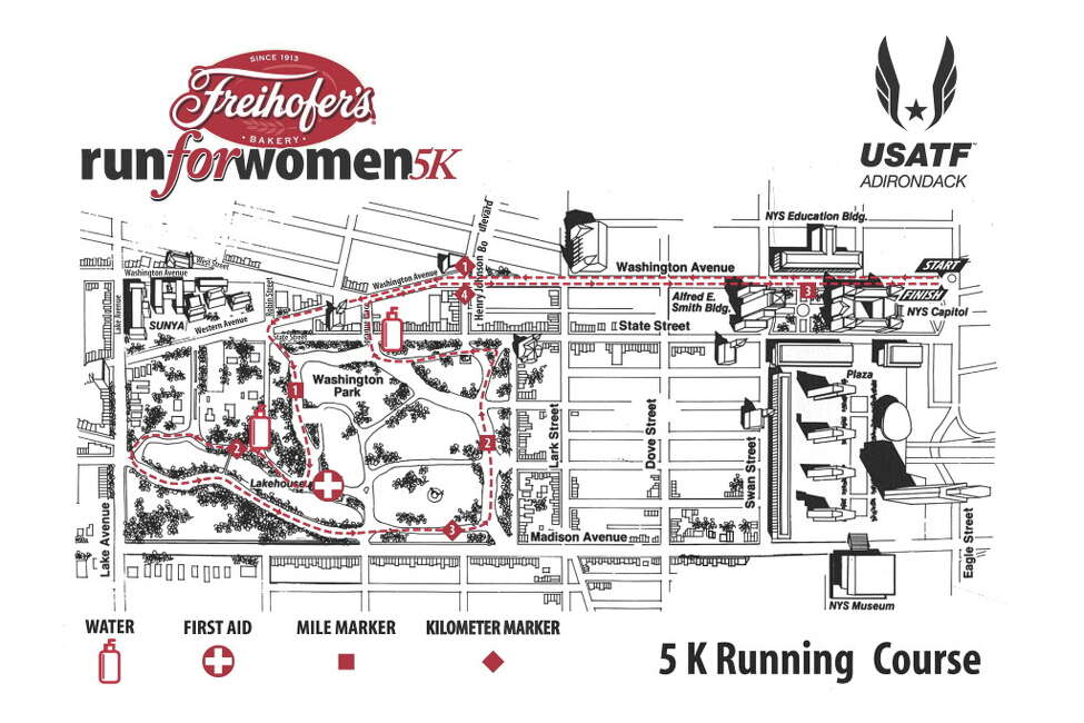 Freihofer's Run for Women 2018 poster of the course map.