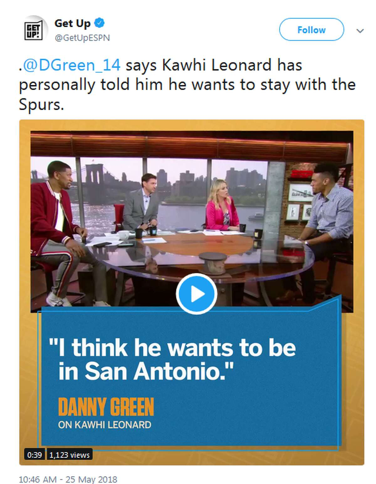 """Spurs guard Danny Green told ESPN's morning show Get Up! that he has spoken with Kawhi Leonard and though the situation is """"up in the air,"""" he told him he wants to stay in San Antonio."""