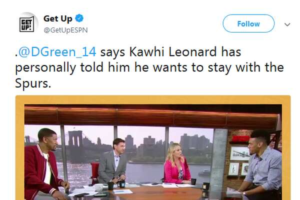 "Spurs guard Danny Green told ESPN's morning show Get Up! that he has spoken with Kawhi Leonard and though the situation is ""up in the air,"" he told him he wants to stay in San Antonio."