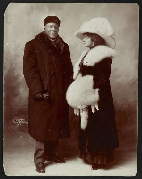 Boxing champion Jack Johnson and his first wife, Etta. Interracial relationships were — at best — frowned upon in that era. Photo: Library Of Congress / handout