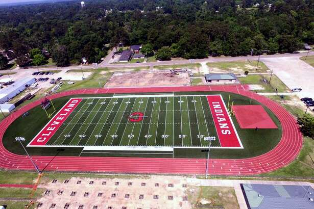 Look, Ma! No stands! Cleveland High School's stadium is undergoing a major  renovation with new higher-seating capacity stands added to both the home and  visitor side. This aerial photo taken by ROTC MSgt. Timothy Piscitelli with a drone shows how the area currently  looks. In the coming weeks, construction crews will be erecting the new stands  just in time for the first football scrimmage games in August.
