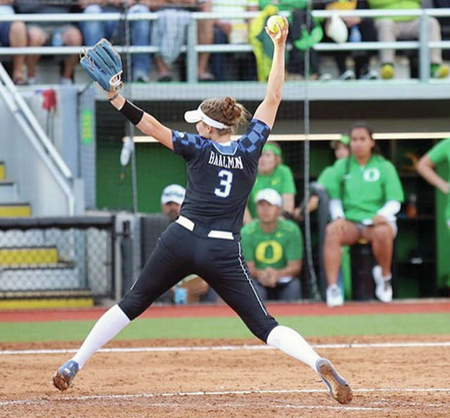 Kentucky's Grace Baalman, a freshman from Calhoun, delivers a pitch against No. 1-ranked Oregon during Game 1 of the NCAA Eugene Super Regional Thursday night in Eugene, Oregon. Baalman was the winning pitcher in No. 16 Kentucky's 9-6 upset of top-ranked Oregon. Game 2 is set for Friday.