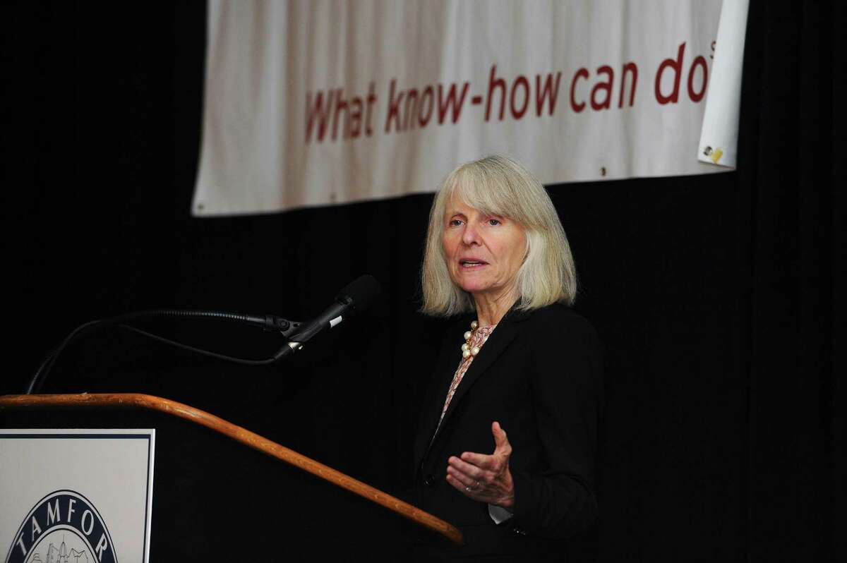 Catherine Smith, Connecticut's economic development commissioner, speaks during the Stamford Chamber of Commerce's annual meeting at the Crowne Plaza hotel in Stamford, Conn., on Sept. 26, 2017.