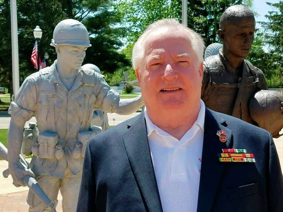 Allan Bierlein at the Coleman Veterans Memorial. (Ron Beacom/for the Daily News)