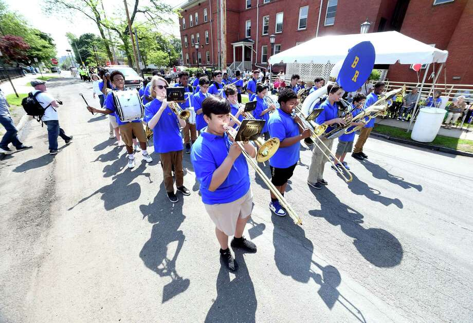 Students from the Betsy Ross Arts Magnet School parade past the Mary Wade Home during the 10th Annual Fair Haven Community Parade sponsored by the Mary Wade Home in New Haven on May 25, 2018. Photo: Arnold Gold / Hearst Connecticut Media / New Haven Register