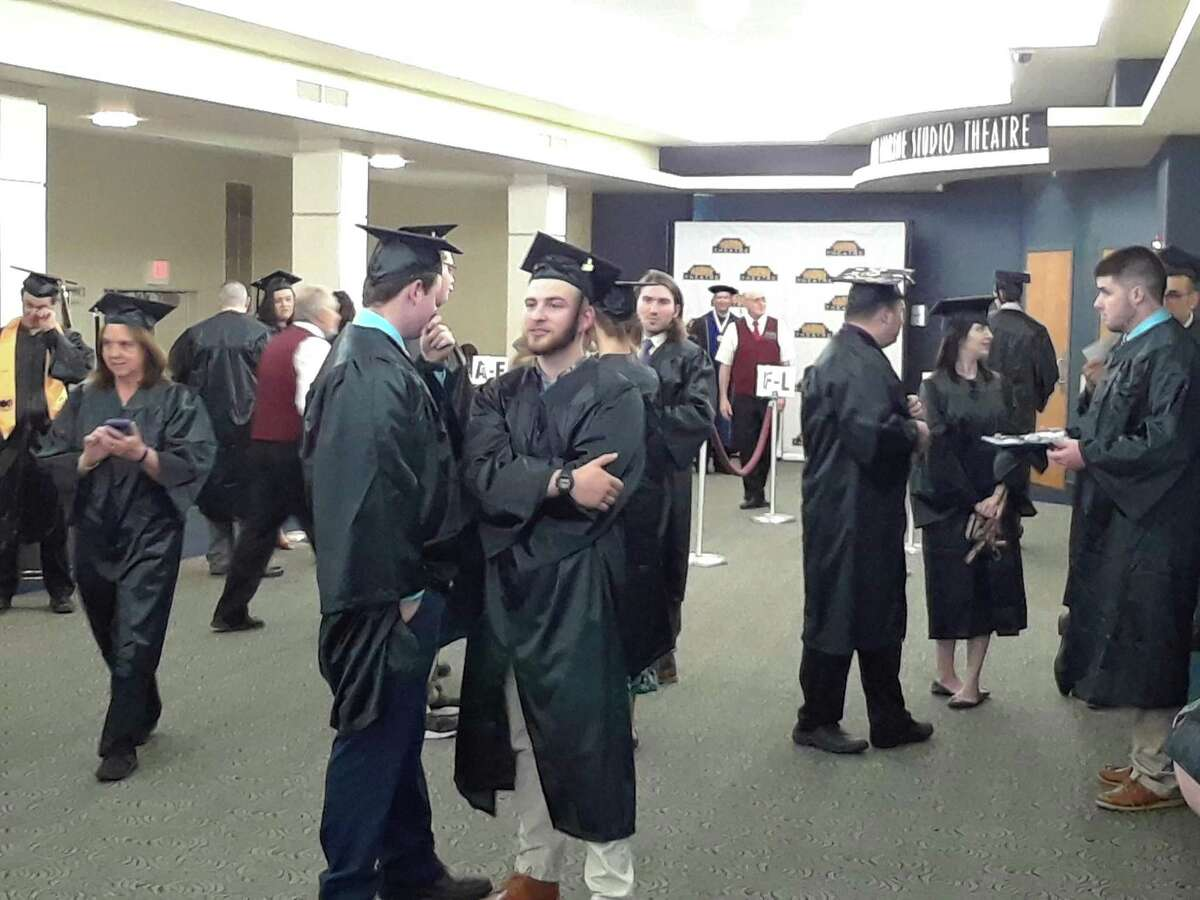 Northwestern Connecticut Community College in Winsted held its commencement ceremonies for the Class of 2018 at the Warner Theatre in Torrington on Thursday night. Before the ceremony, students waited in the Marine Studio Theatre before lining up.