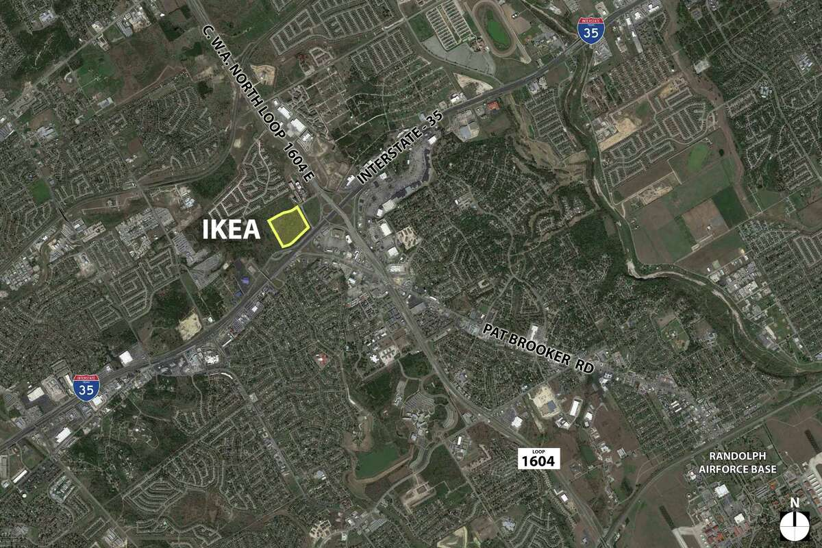 An aerial view showing the site of a planned Ikea store at the intersection of Interstate 35 and Loop 1604 in Live Oak.