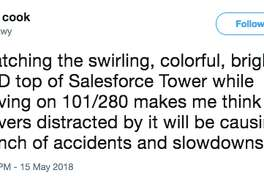 Twitter user comments on the new Salesforce Tower's light show in San Francisco.