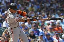 CHICAGO, IL - MAY 25:  Gorkys Hernandez #7 of the San Francisco Giants hits a solo home run in the 4th inning against the Chicago Cubs at Wrigley Field on May 25, 2018 in Chicago, Illinois.  (Photo by Jonathan Daniel/Getty Images)