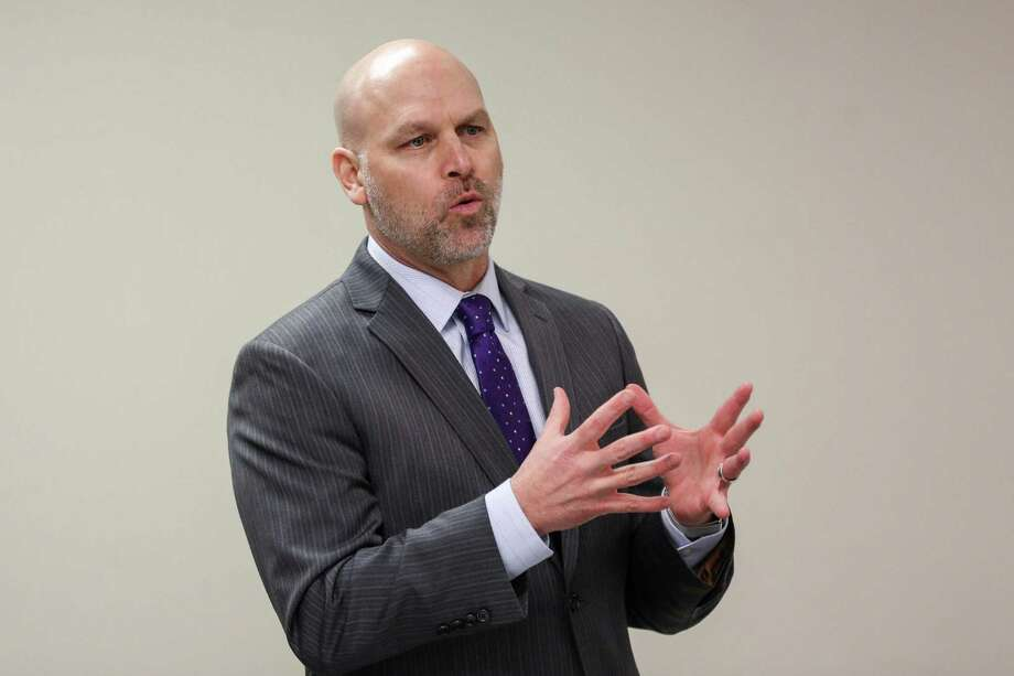 """Willis ISD Superintendent Tim Harkrider provided a """"State of the School"""" during the North Montgomery County Retired Teachers meeting earlier this year. Photo: Michael Minasi, Staff Photographer / Houston Chronicle / © 2017 Houston Chronicle"""