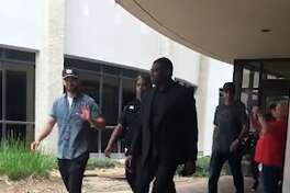 Justin Timberlake is seen leaving Clear Lake Regional Medical Center on May 25, 2018. Timberlake visited victims of the Santa Fe shooting at the hospital.