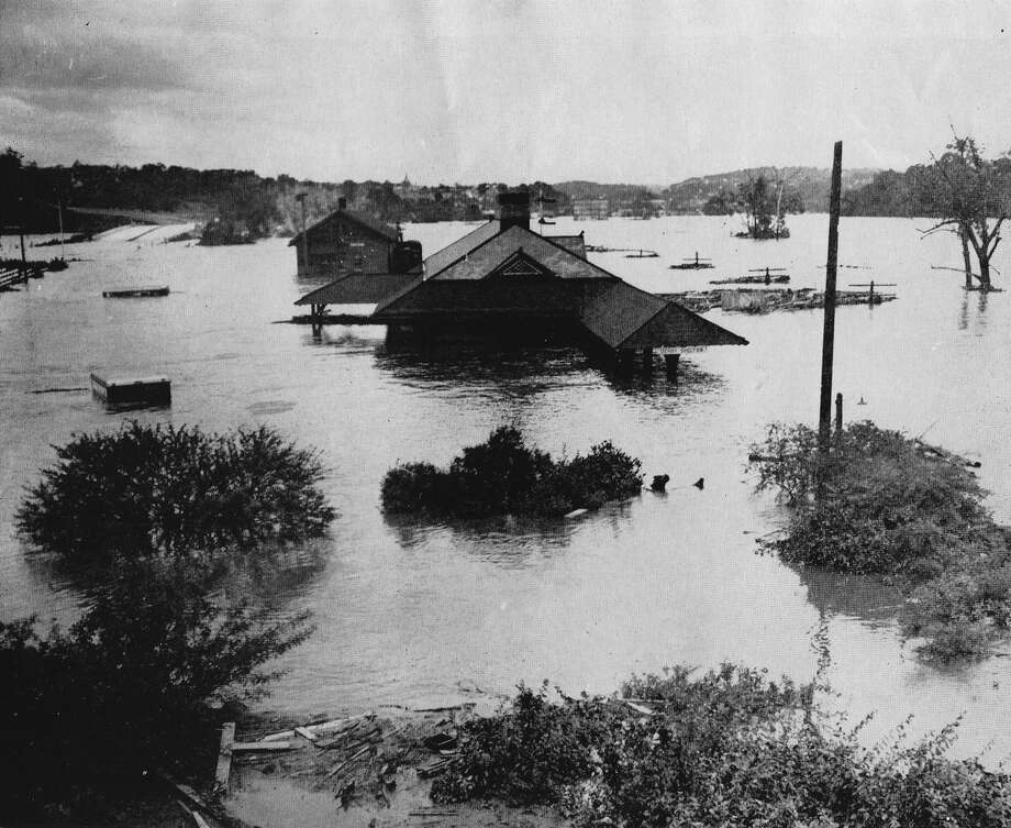 A view of the Derby railroad station from Route 8 looking north. For feature on Flood of 1955. Photo: File Photo / File Photo / Connecticut Post file photo