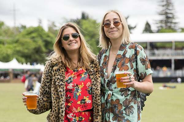 Bri Ettley, left, of San Francisco and Makenzie Ellis of San Francisco show off their style during the first day of Bottle Rock Music Festival in Napa, Calif. Friday, May 25, 2018