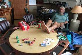 Don Nelson watches Game 5 of the Warriors-Rockets series from the poker room of his house in Maui. He says he never leaves the island anymore, but he watching every Warriors game.