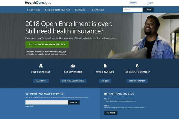This screen grab shows the main page of the healthcare.gov website in Washington, on May 21. A new study says fewer people are insured.