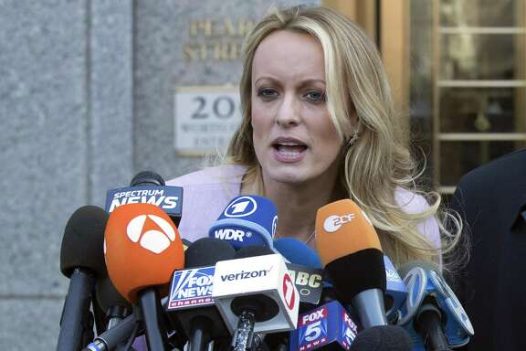 A counterintuitive conclusion: Trump's legal woes, including those involving porn star Stormy Daniels, shown here in April, may actually work for Trump in elections this year because voters are wearying of the circus and are actually focused on issues that affect them directly.