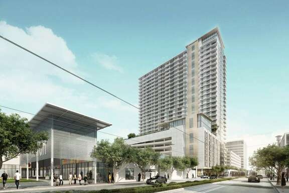 A rendering of the 29-story residential tower, designed by CallisonRTKL, under construction at 3300 Main.