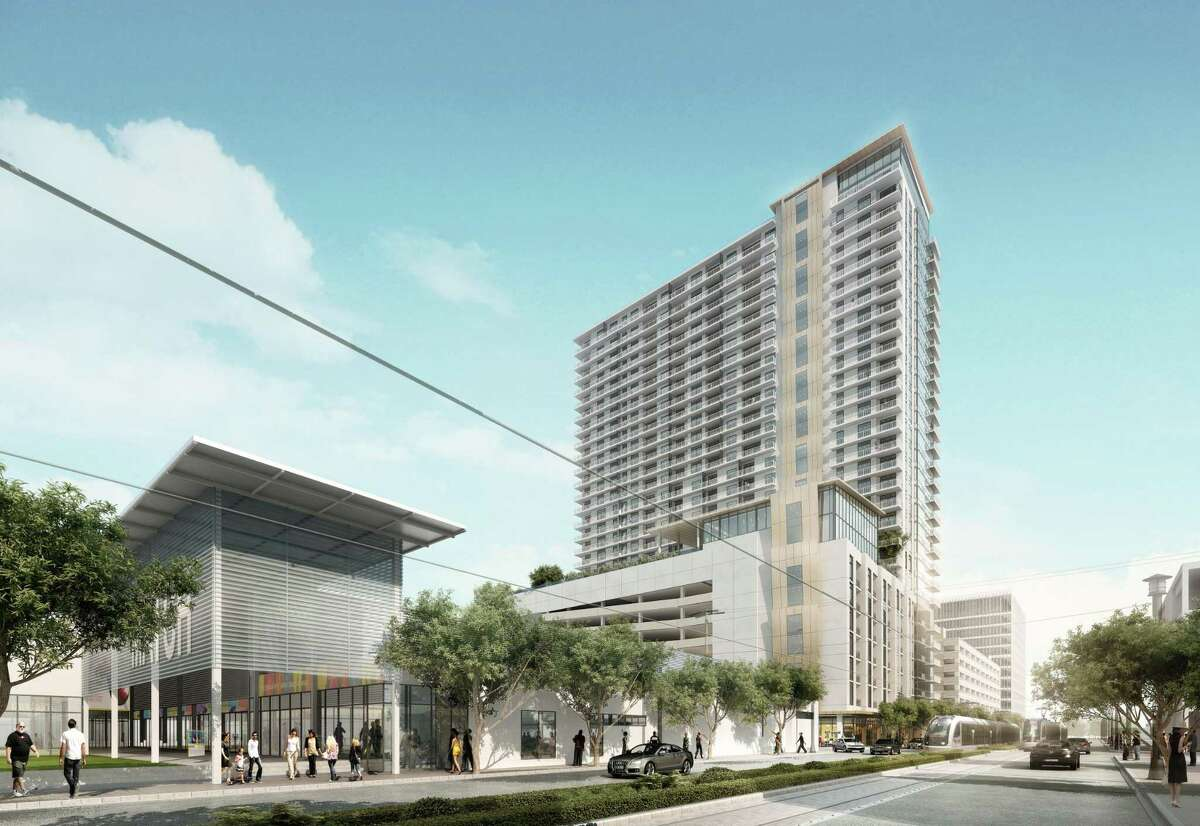 A rendering of the 29-story residential tower, designed byCallisonRTKL, under construction at 3300 Main.