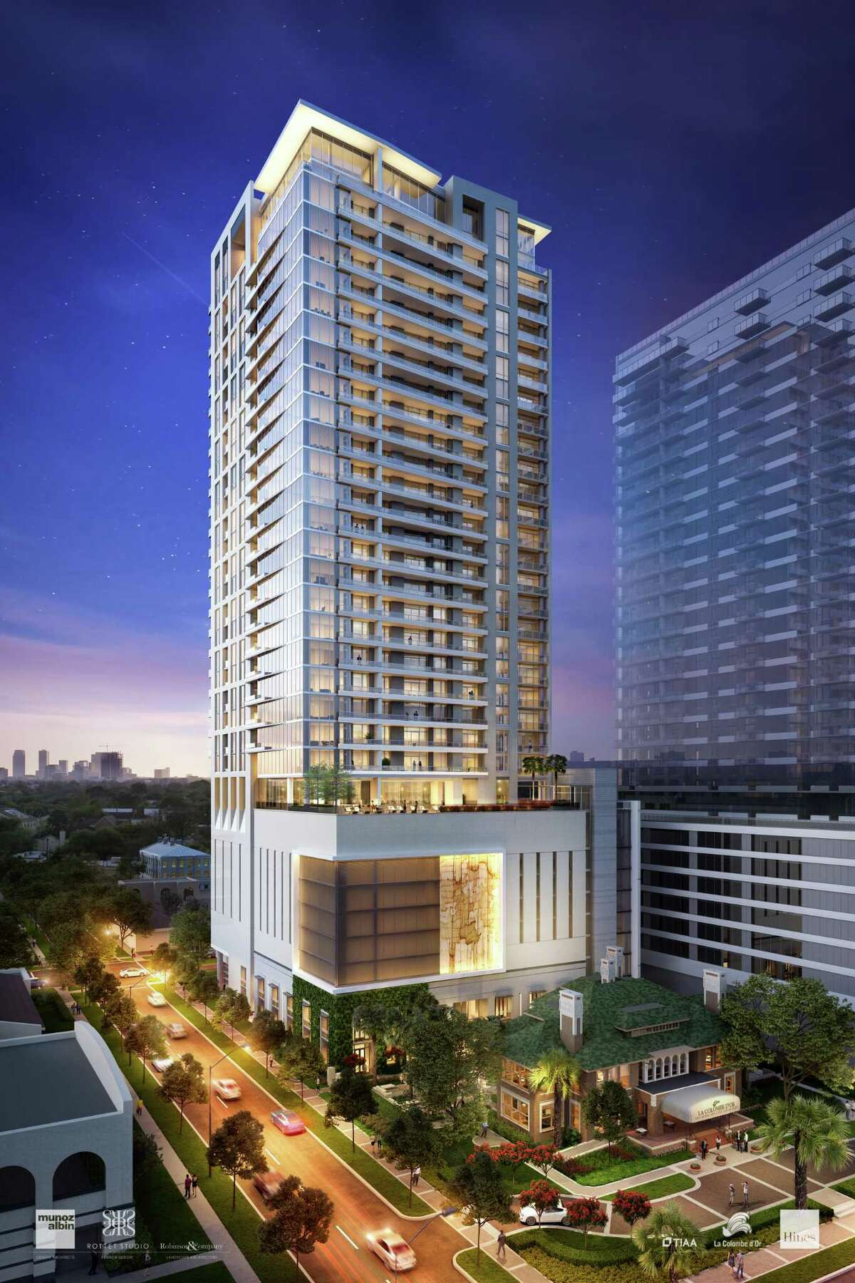 A rendering of the east side of the Residences at La Colombe d'Or, showing how the Zimmerman family's boutique hotel in the historic Fondren House at 3410 Montrose Blvd. will be preserved in front of a new 34-story luxury apartment tower designed by Munoz + Albin Architecture and Planning, with interiors by Rottet Studio.