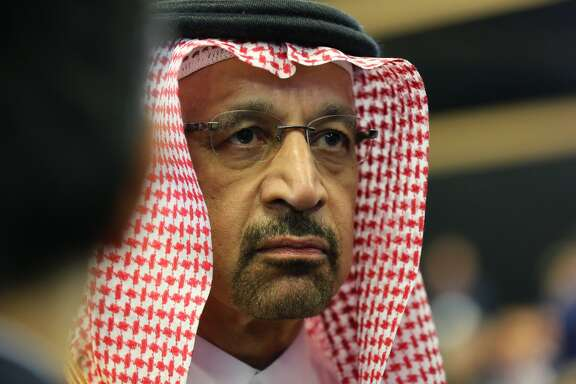 Saudi Energy Minister Khalid al-Falih looks on during a panel debate at the St. Petersburg International Economic Forum in St. Petersburg, Russia, on May 25, 2018.