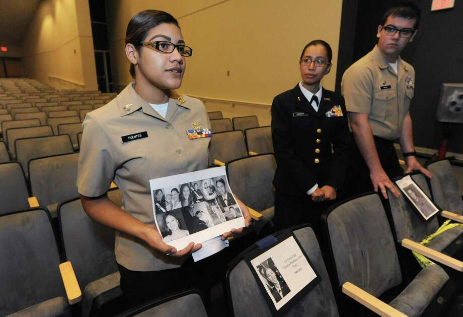 Sohpmore Kelly Fuentes makes her presentation on Airfirce Captain Victoria Castro who was killed in 2013 as the Brien McMahon's Navy JROTC present a program for Memorial Day where first year cadets make presentations on battle studies while upperclassmen will honor veterans with personal profiles Friday, May 25, 2018, in the school auditorium in Norwalk, Conn. Photo: Erik Trautmann / Hearst Connecticut Media / Norwalk Hour