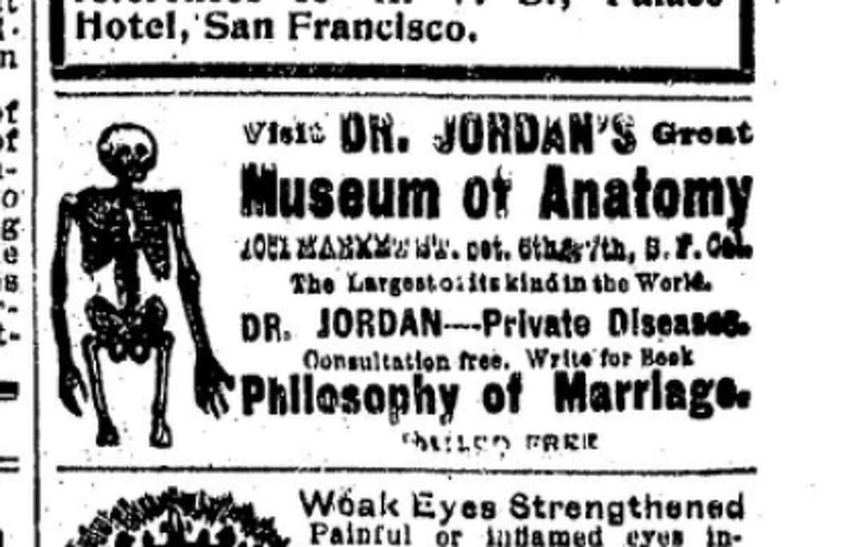 An excerpt of the San Francisco Chronicle in the late 1800s shows an ad placed by Dr. Louis J. Jordan for the Museum of Anatomy.