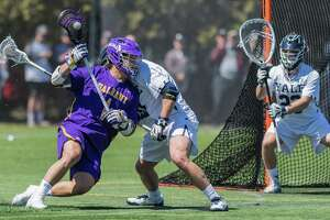 UAlbany's Tehoka Nanticoke looks for an opening to shoot against Yale during their regular-season meeting, a 14-6 Yale victory. (Bill Ziskin / Courtesy of UAlbany)