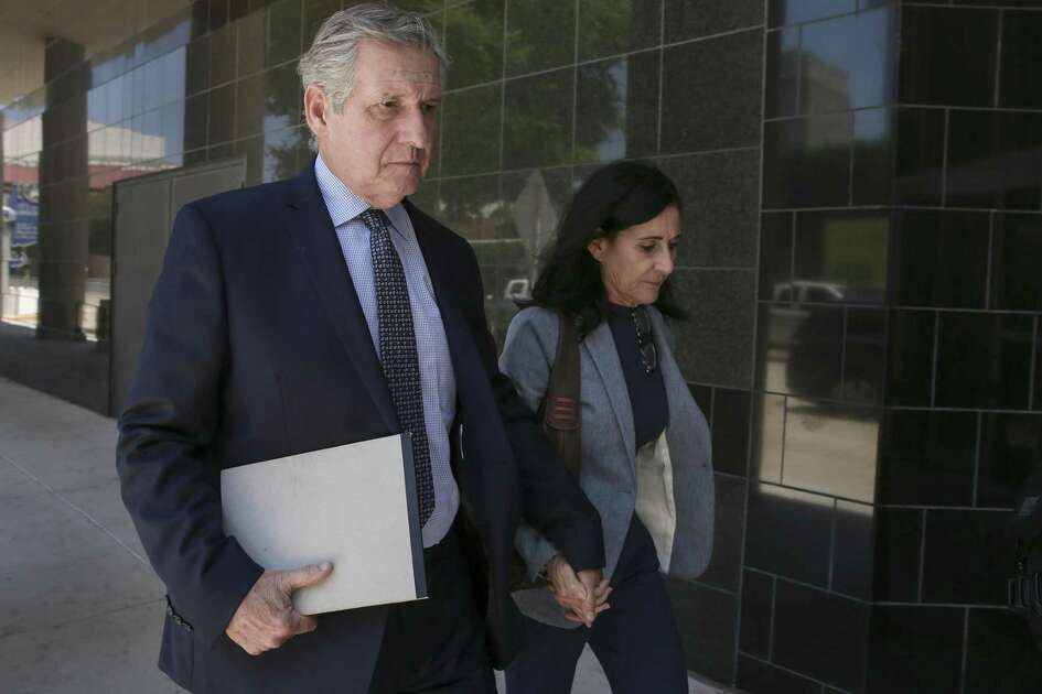 Carlos and Jemima Guimaraes walk into the U.S. District Courthouse on Wednesday, May 16, 2018, in Houston. The Guimaraes were on trial for conspiracy to abduct their grandson, Nico Brann, 8, who has been living in Brazil since his mother took him there for a family wedding in 2013.