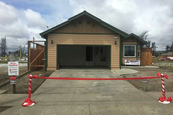 Santa Rosa officials celebrated the completed construction of the first home to be rebuilt in the Coffey Park neighborhood after the North Bay fires in October 2017.