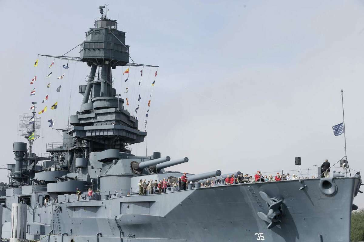 People are shown during a program on the Battleship Texas Feb. 18, 2018, in Houston. The event was in commemoration of the 73rd anniversary of the Battle of Iwo Jima.