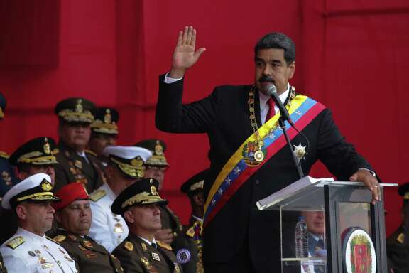Nicolas Maduro, Venezuela's president, speaks in Caracas on May 24. The U.S. has levied new sanctions against Venezuela, but many corrupt oligarchs are still living in the United States, experts estimate.