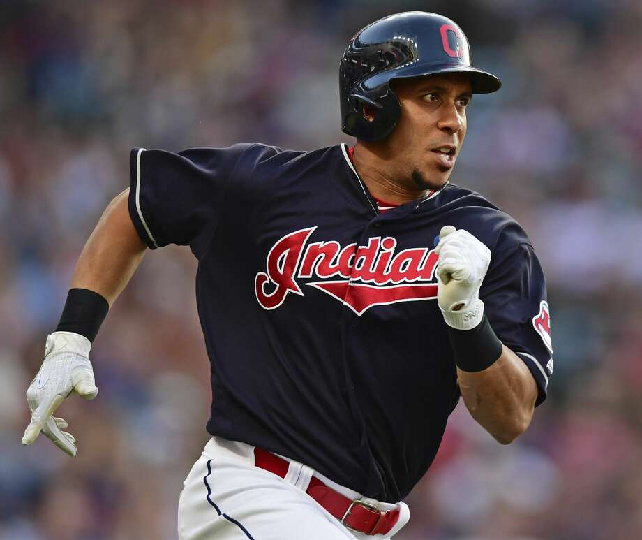 Cleveland Indians' Michael Brantley runs after hitting a double off Houston Astros starting pitcher Dallas Keuchel during the third inning of a baseball game Friday, May 25, 2018, in Cleveland. (AP Photo/David Dermer) Photo: David Dermer/Associated Press