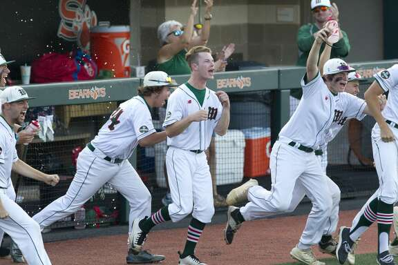 The Woodlands players react after defeating Klein 2-1 in Game 2 of their Region II-6A semifinal series to complete the sweep at Sam Houston State University, Friday, May 25, 2018, in Huntsville.