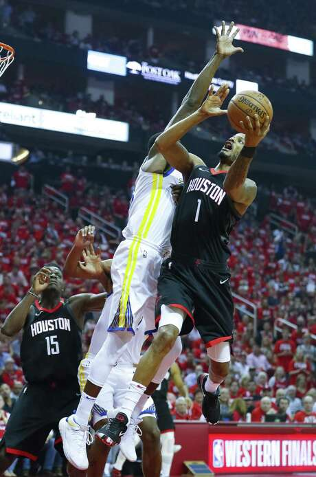 In Game 6, the Rockets will need more out of forward Trevor Ariza, right, who was 1-for-6 from the field (a 3-pointer) and scored six points in 42 minutes. Photo: Brett Coomer, Staff / Houston Chronicle / © 2018 Houston Chronicle
