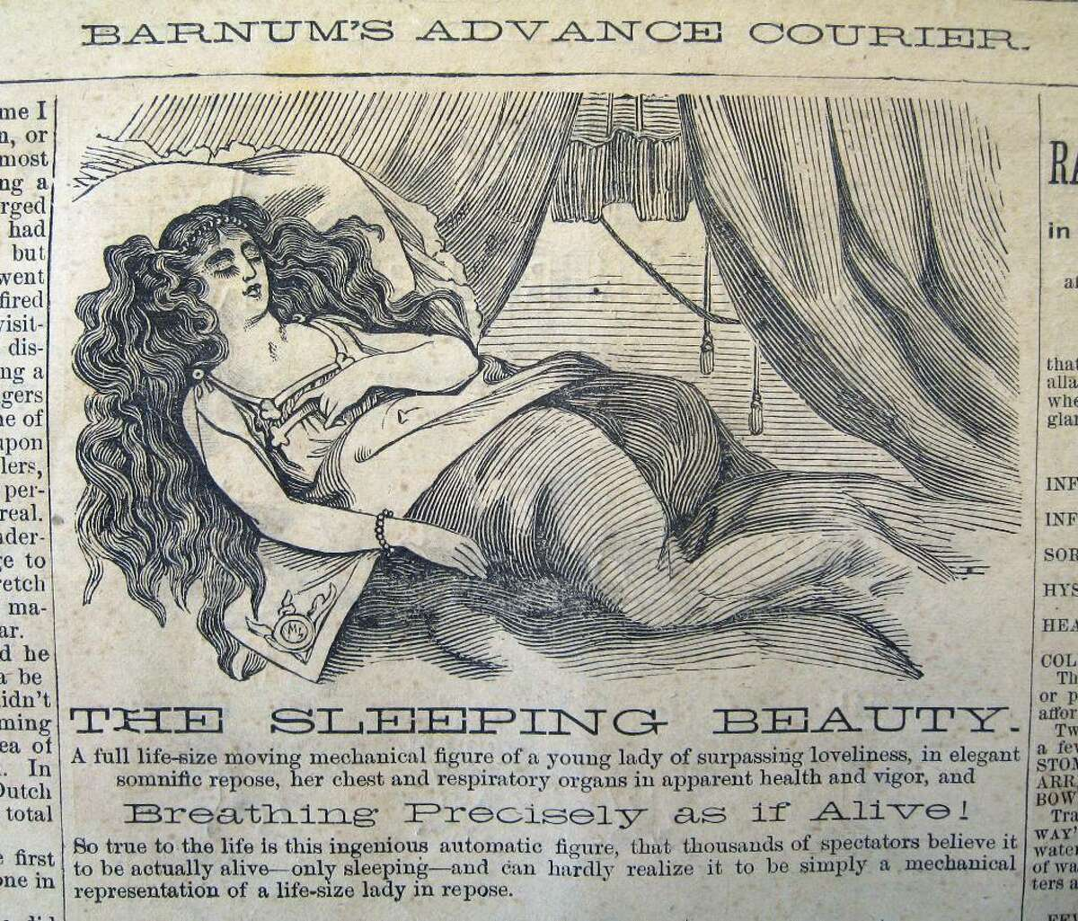 """The mechanical, life-sized Sleeping Beauty was just one of the many hundreds of attractions that the Barnum hawked in his Advance Courier, """"her chest and respiratory organs in apparent health and vigor."""" (Courtesy of the Bridgeport History Center at the Bridgeport Public Library)"""