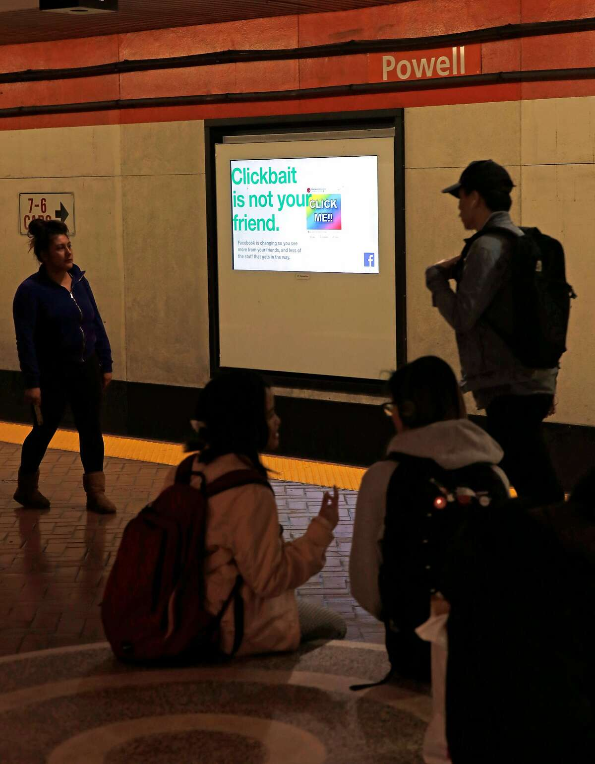 Facebook is running scrolling ads for their company on the train platform video screens at the Powell street BART station in San Francisco, Ca., as seen on Thurs. May 24, 2018.