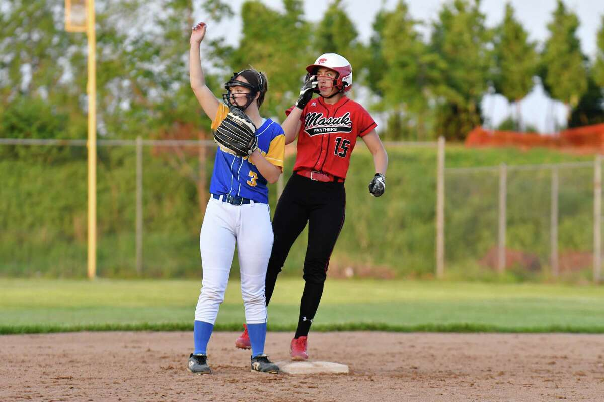 Erica Pullen (15) of the Masuk Panthers led off the bottom of the first inning with a stand up double during the SWC Championship Game against the Newtown Nighthawks on Friday May 25, 2018, at DeLuca Field in Stratford, Connecticut.