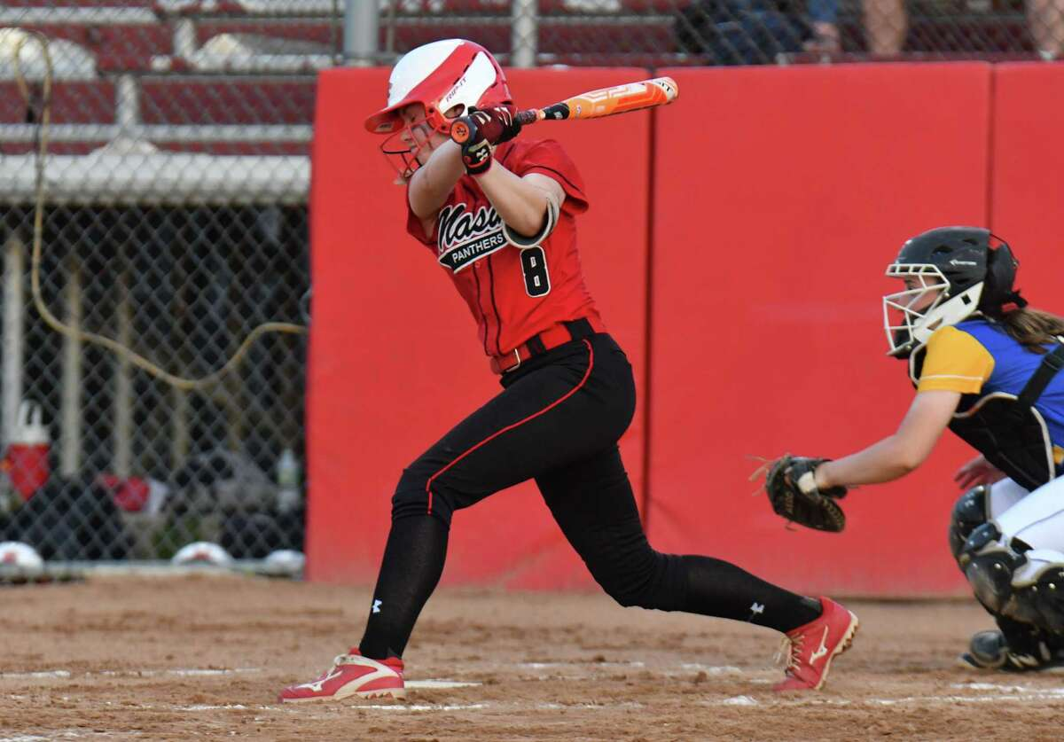 Gretchen Bunovsky (8) of the Masuk Panthers hits an inside the park home run during the SWC Championship Game against the Newtown Nighthawks on Friday May 25, 2018, at DeLuca Field in Stratford, Connecticut.