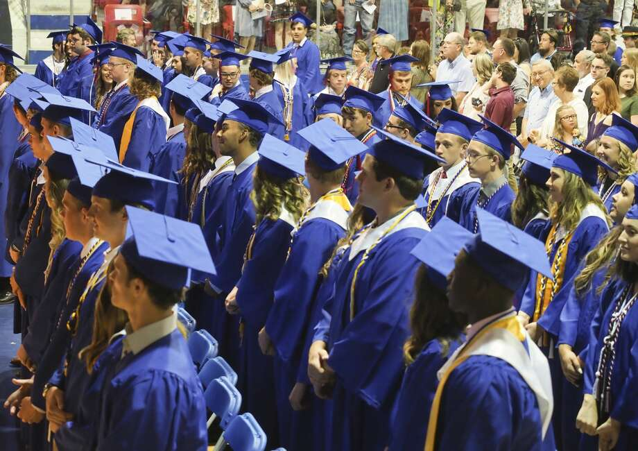 Midland Christian seniors process in 05/25/18 evening during the commencement ceremony at the McGraw Events Center at MCS. Tim Fischer/Reporter-Telegram Photo: Tim Fischer/Midland Reporter-Telegram